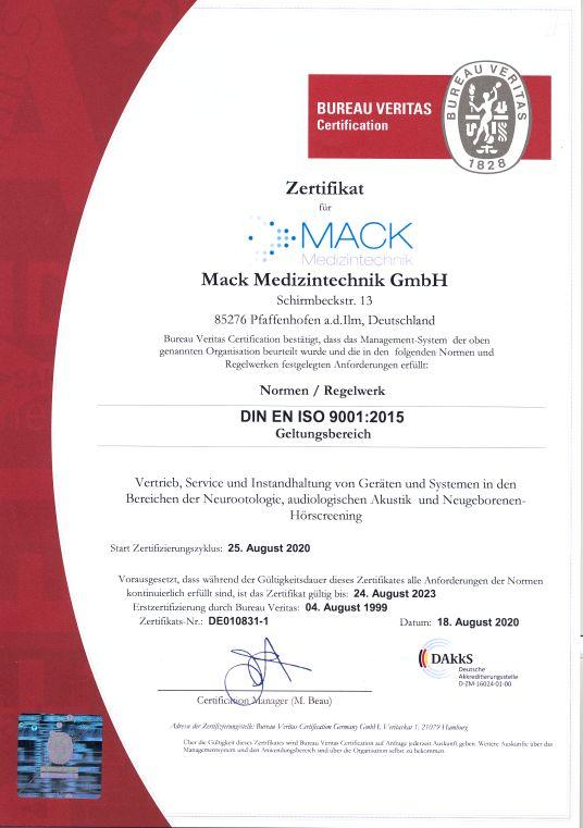 QM Zertifikat Mack GmbH 9001:2015